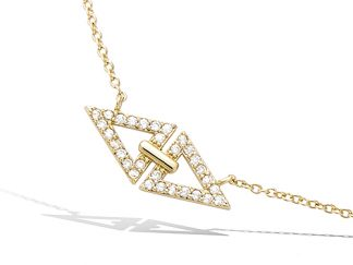 collier double triangle plaqué or