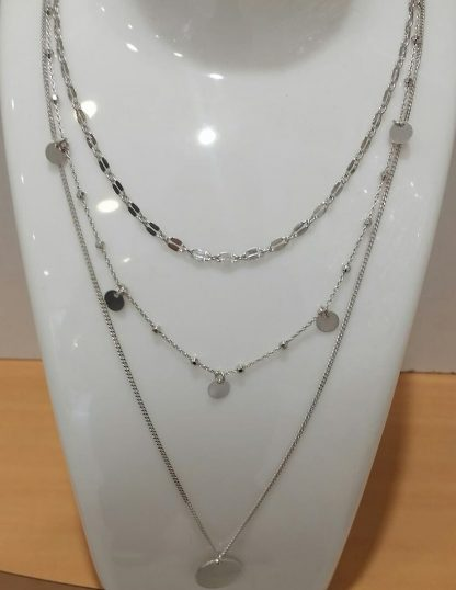 Collier argent multirang rond