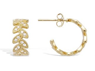 Boucle oreille or feuille laurier