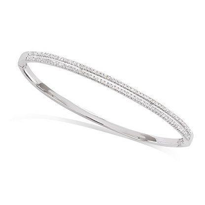 bracelet jonc double ligne argent