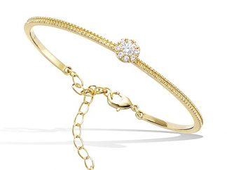 bracelet jonc plaqué or chainette