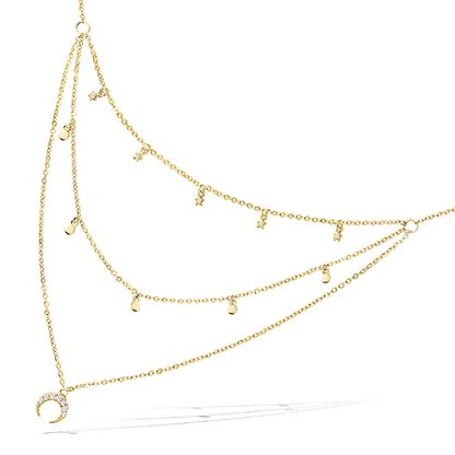 Collier or triple rangs pampille
