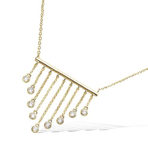 collier barre pendant plaqué or