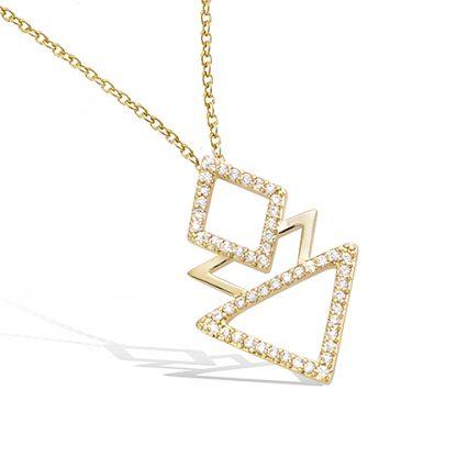 pendentif plaqué or geometrique