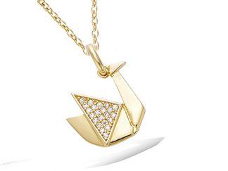 pendentif plaqué or origami cygne