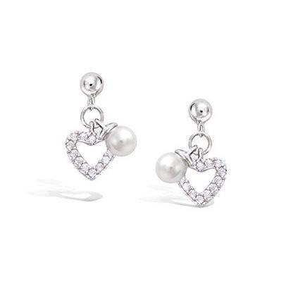boucle oreille argent coeur perle