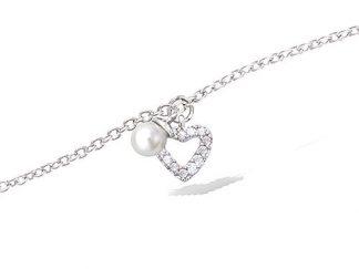 bracelet argent coeur perle