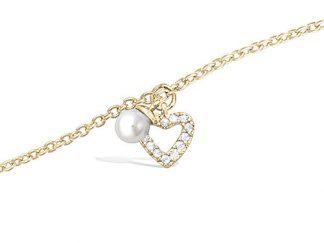 Bracelet plaqué or coeur perle blanche