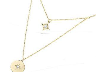 Collier double rang or étoile
