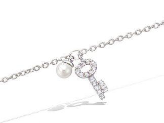 bracelet argent clef perle