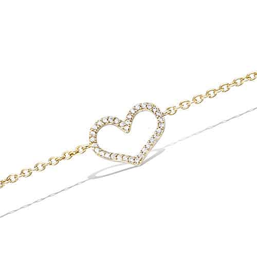 Bracelet plaqué or coeur évidé