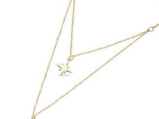Collier or double étoile et lune
