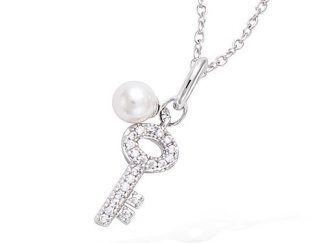 pendentif argent clef perle blanche