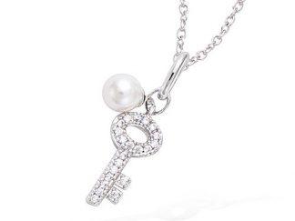 pendentif argent clef perle blanche