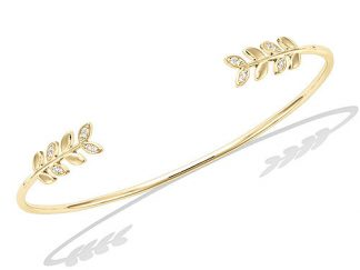 Bracelet jonc or feuillage