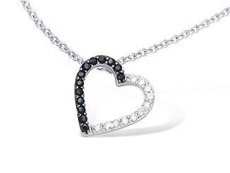collier coeur oxydes noirs argent
