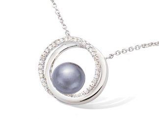 collier double cercle perle grise argent