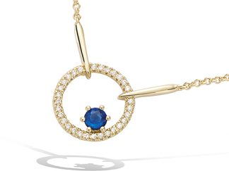collier ronde saphir pl or