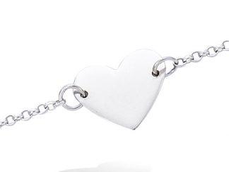bracelet argent coeur lisse