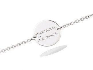 bracelet argent pastille maman amour