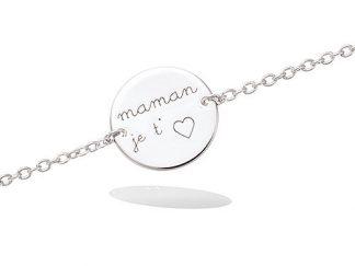 bracelet argent pastille maman je t'aime