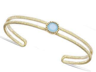 bracelet plaqué or double fils pierre bleue