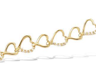 bracelet plaqué or coeurs