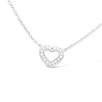 collier argent coeur evidee