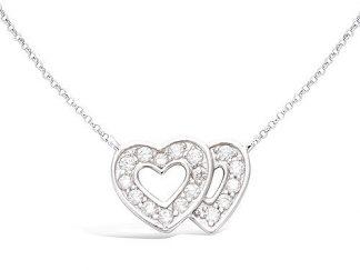 collier argent double coeur