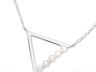 Collier argent triangle perles