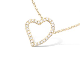 collier coeur evidee pl or