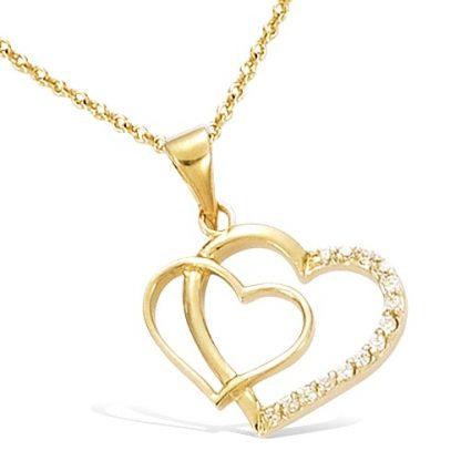 pendentif plaqué or double coeur