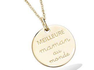 pendentif plaqué or meilleure maman