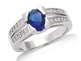 bague argent ovale saphir bleu
