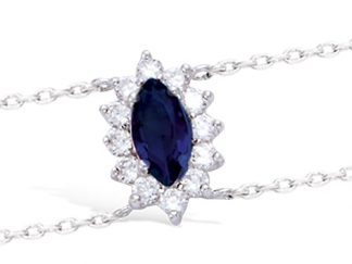 bracelet argent ovale saphir