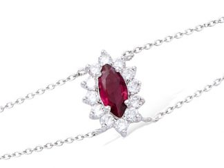 bracelet argent rubis ovale