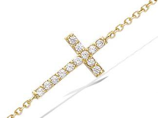 bracelet plaqué or croix