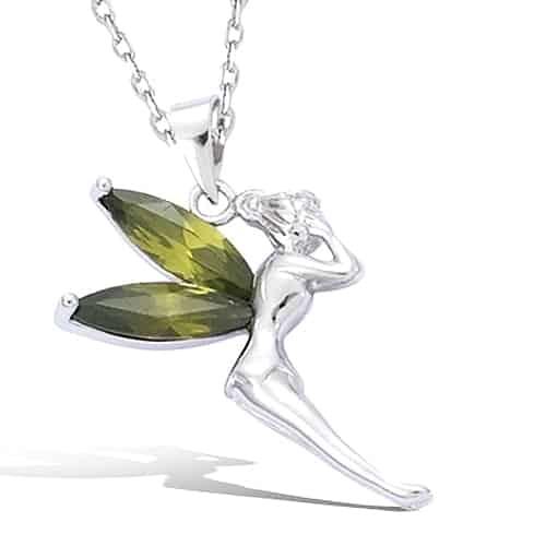 pendentif argent elfe olivines