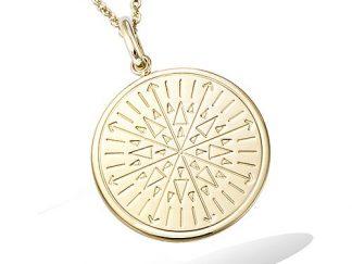 pendentif plaqué or disque motif