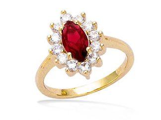 bague plaqué or ovale rouge