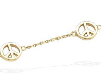 bracelet plaqué or Peace and Love