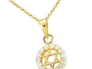 Pendentif or étoile David cercle