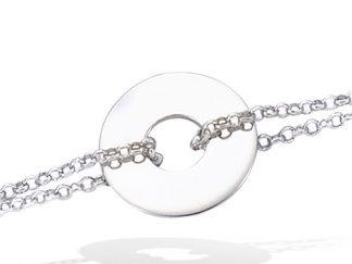 bracelet argent disque double chaine