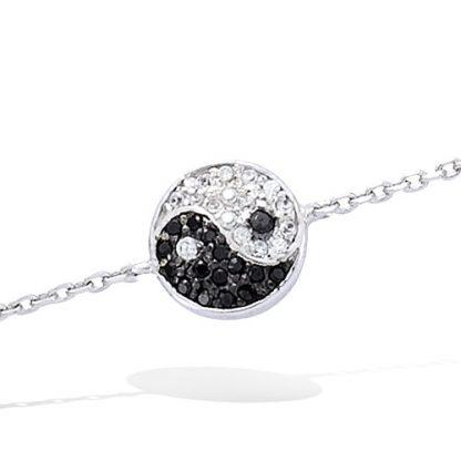 Bracelet argent Ying Yang oxydes