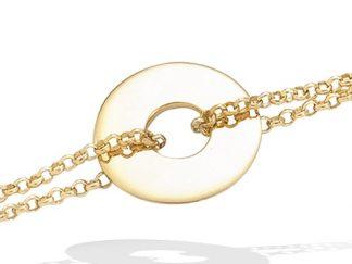 bracelet plaqué or disque double chaine