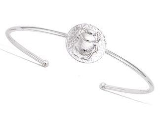 Bracelet jonc argent scarabée