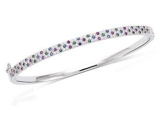 bracelet jonc argent pierre multicolor