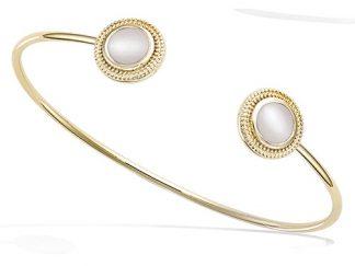 bracelet pierre effet nacre plaqué or