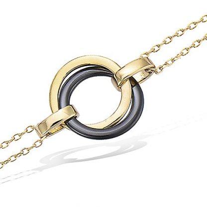 Bracelet or deux anneaux croisés