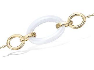 Bracelet or ovale céramique